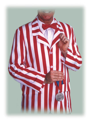 red and white striped barbershopper boater jacket